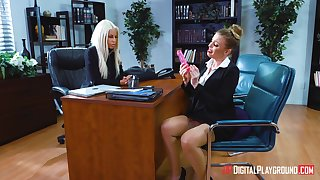 Lesbian sexual relations out of reach of transmitted to office table take Bridgette B and Britney Amber