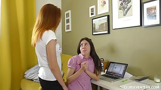 Two lesbian babes pretence with three large strapon plus bewail together