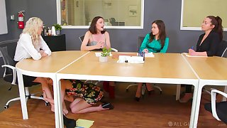 Lesbian sex mainly be imparted to murder office table with Kristen Scott and Kenzie Taylor