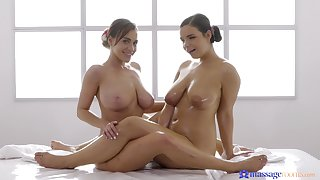 Amazing glaze of Sofia Lee giving Josephine Jackson a massage